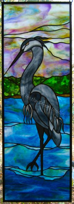 """""""Blue Heron"""" stained glass panel - Maid on the Moon Studio"""