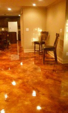 Acid Stained Concrete Floors Media Room