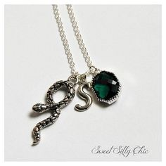 Slytherin Inspired Short Necklace, Harry Potter Hogwarts Slytherin Necklace, Harry Potter Jewelry, Emerald Snake Necklace and other apparel, accessories and tre...