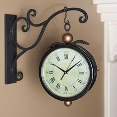 Vintage Double Sided Wall Clock With Holder Antique Station