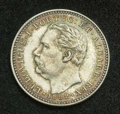 India Portuguese coins 1/2 Rupee silver coin of 1882, King Luis I of Portugal.