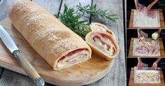 Pão enrolado recheado com presunto e queijo! Receita passo a passo