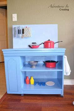 Adventures In Creating: DIY Play Kitchen from an old entertainment cabinet Tv Stand To Play Kitchen, Diy Play Kitchen, Play Kitchens, Diy For Kids, Crafts For Kids, Diy Crafts, Man Projects, Craft Projects, Classroom Furniture