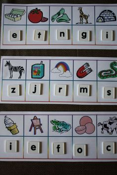 Phonics Reading pack: Reading mats for better recognition and beginning sounds. Students match magnetic letter tiles to the mats on a cookie sheet. Kindergarten Centers, Kindergarten Literacy, Literacy Centers, Abc Centers, Alphabet Activities, Classroom Activities, Classroom Ideas, Beginning Sounds, Learning Letters