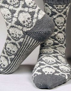 Hot Crossbones Socks - Knitting Patterns and Crochet Patterns from