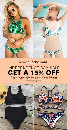 Pre-Independence Day Sale~ Celebrate the season with up to 15% Off Code during 7.1-7.6. Pick Any Swimsuit You Want from Cupshe.com. Save on the hottest items of the season. Check them out.