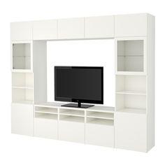BESTÅ TV-løsning/vitrinedører - Lappviken/Sindvik hvit klart glass, skuffeskinne, trykk-åpen-beslag - IKEA Kr 7575,-