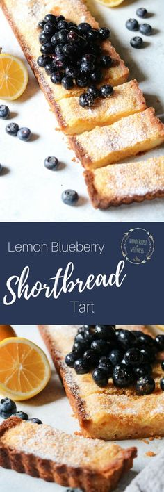 This lemon blueberry shortbread tart is super quick and easy to fix, plus it's moist and ooey gooey just like your favorite lemon bars. Tart Recipes, Baking Recipes, Sweet Recipes, Dessert Recipes, Lemon Recipes, Recipes Dinner, Summer Recipes, Dinner Ideas, Healthy Recipes
