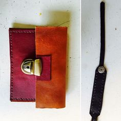 Porte carte bicolore en cuir de veau et d'agneau et bracelet en cuir de veau réalisés et assemblés à la main !