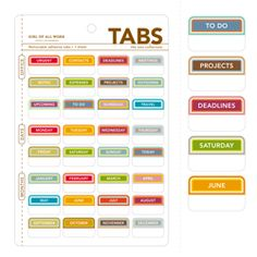 Office Tabs | seejanework.com-$3.50 | Office Tabs from Girl of All Work take the guesswork out of paper piles. Whether you're passing a stack off to your assistant or trying to organize your own desk, these Office Tabs will quickly become a necessity in your office.  Assign a due date, categorize incoming mail, or even prioritize tasks. The Office Tabs are removable from most paper, but should be tested before applying to important paperwork. Make sure to get a set for home and office.
