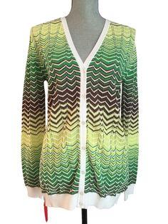 69a4cdd8f3 M Missoni Green Yellow Zig Zag Chevron Knit Cardigan Sweater 4 US 40 It for  sale online