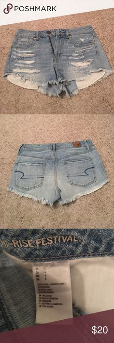 American Eagle Hi-Rise Festival Shorts Lightly worn, in excellent condition! No extra tearing/rips American Eagle Outfitters Shorts Jean Shorts