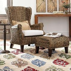 Santino Wing Chair with Cushion--Grandinroad.com  Chair $399/Ottoman $149 2 colors--I like Java color  Shipping 10% of total + $35 oversize handling fee.