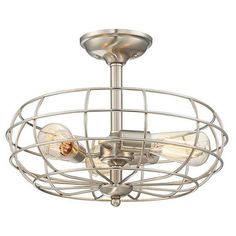 FREE SHIPPING. Purchase the Scout Semi Flush in Satin Nickel by Savoy House for your affordable industrial style ceiling lighting at lightingconnection.com.
