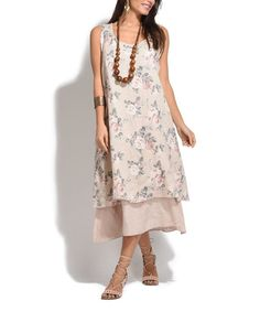Another great find on #zulily! Pink Meredith Linen Dress #zulilyfinds