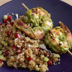 Haryali Shrimp Kebab on Quinoa Pomegranate Chaat Tandoori Shrimp, Tandoori Masala, Chaat Masala, Chicken Keema, Marinated Shrimp, Yummy Food, Tasty, Dinner Menu, Kitchens