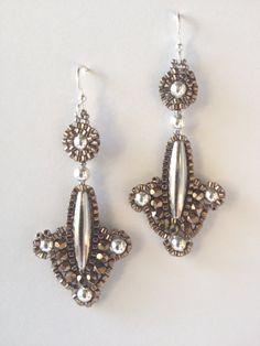 Jeka Lambert, seed bead woven earrings