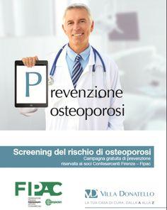 """Dottore tiene un cartello con scritto """"Prevenzione osteoporosi"""""""
