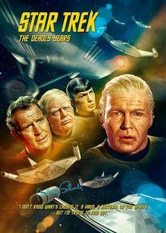 "Star Trek: The Original Series ""The Deadly Years"" (First Broadcast: December Star Trek Tv Series, Star Trek Books, Star Trek Show, Star Trek Original Series, Star Trek Characters, Star Wars, Science Fiction, Star Trek Posters, Movie Posters"