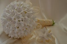 Wedding Bouquet Stephanotis flowers  and Boutonniere Set  Deco Clay Made By Order. $150.00, via Etsy.
