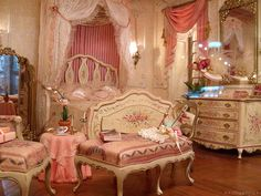Georgian era inspired opulence reigns supreme in this fantastically pretty bedroom. #rococo #Georgian #bedroom #home #decor #shabby #chic #pink #furniture #feminine #girly #vintage #antique