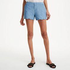Scalloped hem shorts