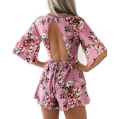 Adogirl Elegant Sweet Floral Print Women Playsuits Sexy Jumpsuit Shorts 2018 New Summer Half Sleeve Party Beach Playsuit Overall. Backless Playsuit, Beach Playsuit, Boho Romper, Strapless Romper, Romper Pants, Floral Romper, Pants Outfit, Rompers Women, Jumpsuits For Women