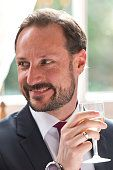 Prince Haakon Of Norway visits the Norwegian Embassy for a luncheon during a visit to London on February 25, 2015 in London, England