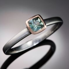 Mixed Metal Teal Green Cushion Montana Sapphire Engagement Ring, size 5 to 8