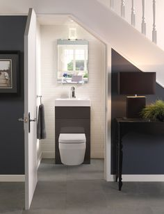 under stairs toilet Small Downstairs Toilet, Small Toilet Room, Downstairs Bathroom, Eco Bathroom, Small Bathroom, Bling Bathroom, Bathroom Designs, Understairs Toilet, Understairs Ideas