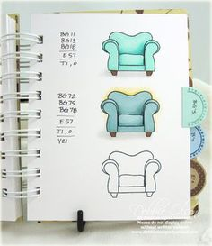 Trendy Tabs: Copic Blends Notebook nice notebook for source info on combinations to color furniture