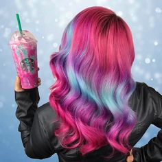 #UnicornHair + #UnicornFrappuccino = a match made in heaven! @caitlinfordhair used our vegan dyes in Strawberry Jam, Chocolate Cherry & Anime to create this uniconilicious look! Shop 13 semi-permanent shades on limecrime.com.