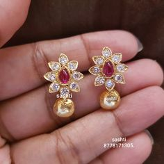 1 ct Natural Kanchanaburi Sapphire Stud Earrings with Diamonds in White Gold – Jewelry & Gifts Gold Jhumka Earrings, Gold Earrings Designs, Gold Jewellery Design, Necklace Designs, Stud Earrings, Handmade Jewellery, Jewellery Sale, Indian Earrings Gold, Earings Gold