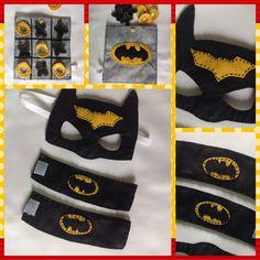 Máscara, braceletes e joguinho da velha no tema do Batman!!!
