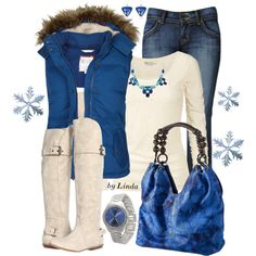 """Blue & Cream Winter Outfit"" by lindakol on Polyvore"