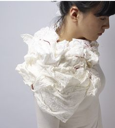 Wan Hee Cho - Walking Slow in the Fast World    Body Ornament, 2012    Korean mulberry paper, Thread    H305mm X W420mm X D90mm