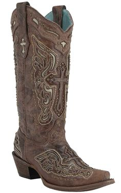 Corral Women's Cognac Crater w/ Honey & Bone Inlayed Winged Cross & Brass Studs Snip Toe Western Boots | Cavender's