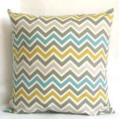 Blue Yellow Pillow Cover - 20x20 inch Chevron Decorative Cushion Cover - Blue Citrine-Yellow Grey Zig Zag. $22.00, via Etsy.