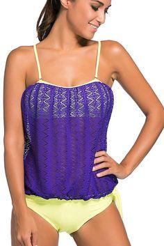 Purple Lace Overly Spaghetti Strap Bandeau 2pcs Tankini Swimsuit