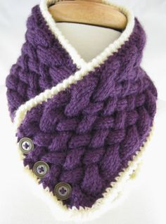 Beautiful Purple with Cream trim Neck warmer – Hand Knit  by:-JazzItupwithdesignsbyNancy