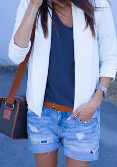 blazer + tee + denim shorts.