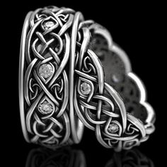 Infinity Wedding Band Set With Moissanites, 925 Sterling Silver Celtic Ring, Celtic Wedding Band, Handcrafted Size / - İrische Eheringe Celtic Wedding Bands, Wedding Band Sets, Wedding Rings, Wedding Stuff, Wedding Ideas, Wedding Pictures, Custom Jewelry Design, Unique Jewelry, Jewelry Ideas