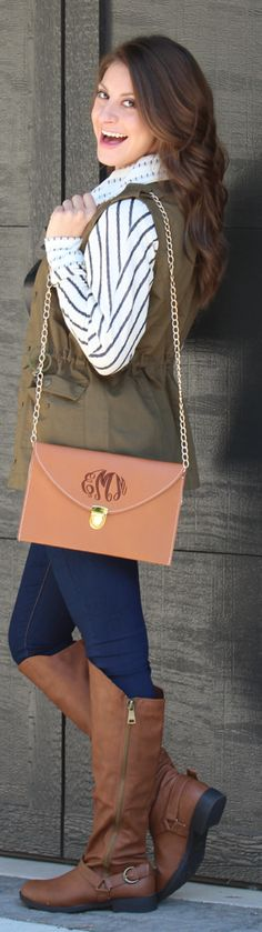Marley Lilly - Monogrammed Brown Luxe Cross Body Clutch. Clothing from Mondaydress.com