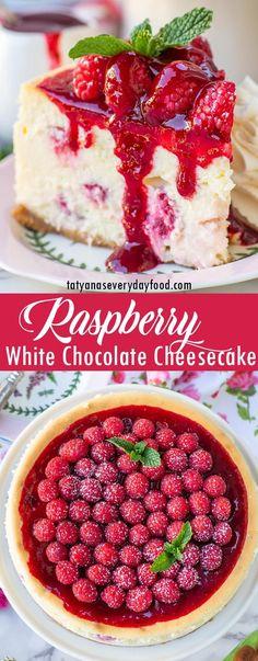 White Chocolate Raspberry Cheesecake, Raspberry Sauce, Rasberry Cheesecake, White Chocolate Recipes, Raspberry Desserts, Banana Pudding Cheesecake, Chocolate Cheesecake Recipes, Baked Cheesecake Recipe, Fun Desserts