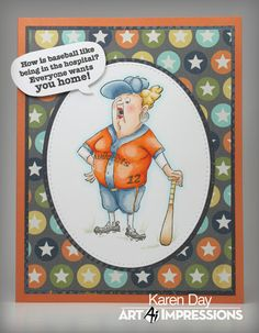 Art Impressions Rubber Stamps: Ai People: 4904 – Baseball Set. Handmade get well soon card