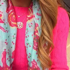 """summerwind41490: """" Neon cabled cashmere + @lillypulitzer murfee to brighten up a dreary day """""""