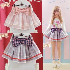 Check current price cute girl skirt spring and summer soft sweet all-match large bow gauze plaid short skorts women blue and pink skirt just only $14.85 with free shipping worldwide  #womanskirts Plese click on picture to see our special price for you