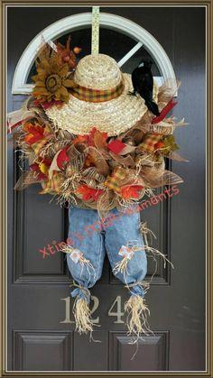 Fall Door Decor, New Listing, Scarecrow Wreath, Fall Wreath, Harvest Wreath… Thanksgiving Wreaths, Autumn Wreaths, Holiday Wreaths, Thanksgiving Decorations, Wreath Fall, Thanksgiving Ideas, Wreath Crafts, Diy Wreath, Wreath Ideas