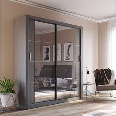 Tengan 2 Door Sliding Wardrobe with LED Hokku Designs Mirrored Wardrobe, Bedroom Wardrobe, Sliding Door Design, Sliding Doors, Bedroom Storage, Bedroom Decor, Bedroom Ideas, Design Bedroom, Attic Storage