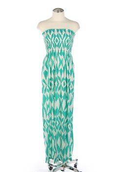This strapless mint maxi dress is sure to flatter any figure.